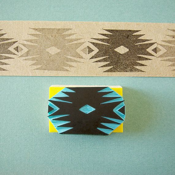 Southwestern Stamp, Tribal, Aztec, Hand Carved, Hipster Decor, Simmetrical…
