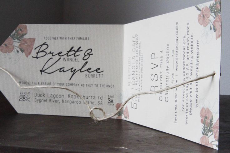 My wedding invitations for my wedding in feb 2015. Designed, Printed, Cut, and constructed by me.   When closed, slight parts of the flowers show, and when opened, the two sided of the string are pulled together to 'tie the knot'   On the right hand side, the reception, RSVP, and more information cards are perforated, and can be torn off, leaving only the left side with ceremony information that looks like a tag.