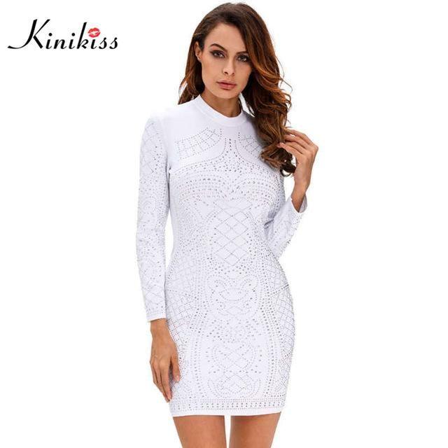 Spring long sleeve women dress short black diamond club dress sexy women party dress fashion white