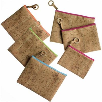 Burke Decor cork cosmetic bags via Calder Clark Designs blog