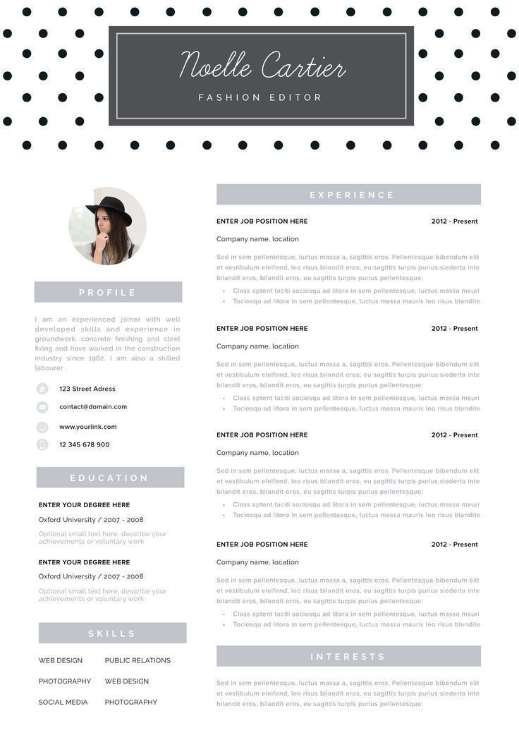 Resume Template Instant Download Resume With Photo Creative Etsy Resume Template Download Resume Cv Template Word