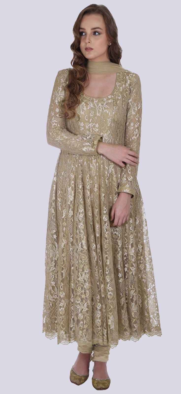 Eid 2017 Collection: Beige-Gold Lace Anarkali Suit With Dupatta