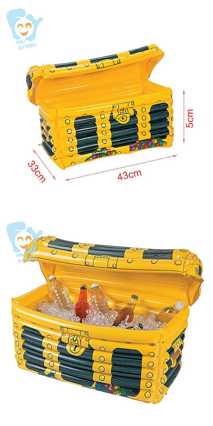 [Visit to Buy] Inflatable Pirate Chest Inflatable Cooler Inflatable Drink Can Holder Water Toys Pool Beach Fun #Advertisement