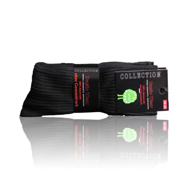 Berufssocken ohne Gummidruck schwarz 100% Baumwolle - 5 Paar
