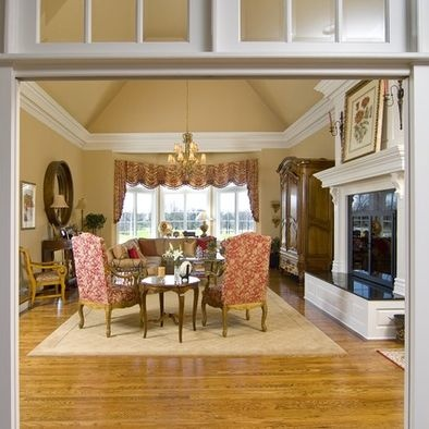 Crown Molding With Vaulted Ceiling- chunky molding with same color on walls and ceiling.