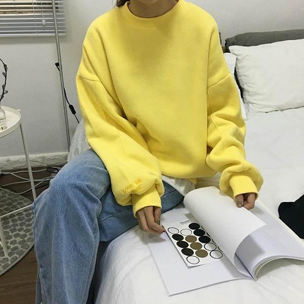 yellow aesthetic sweatshirt outfit grunge