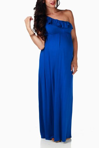 Blue f Shoulder Maternity Maxi Dress