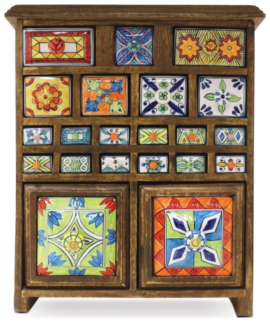 vintage curio cabinet with painted ceramic drawers