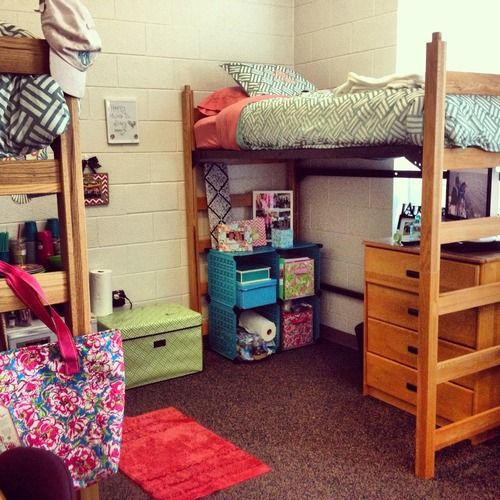 Dorm loft bed frame woodworking projects plans for Cool dorm room setups