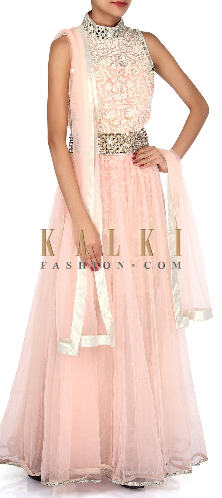 Buy Online from the link below. We ship worldwide (Free Shipping over US$100). Product SKU - 304599. Product Link - http://www.kalkifashion.com/baby-pink-anarkali-suit-adorn-in-thread-and-mirror-embroidery-only-on-kalki.html