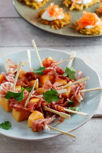 Starters & Canapés: Melon & Prosciutto skewers | Simply Delicious