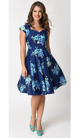 1950s Style Blue & Floral Print Cap Sleeve Swing Dress