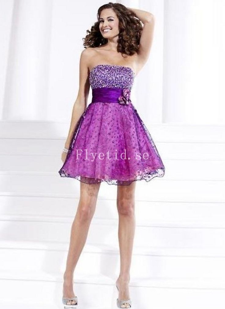 A-linje Strapless Halsringning Beadings Mini Tyll Graducation Dress