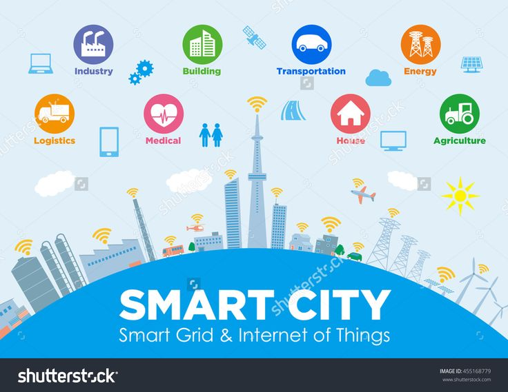 smart city on global ground with various technological icons, futuristic cityscape and modern lifestyle, smart gird, IoT(Internet of Things), CPS(Cyber-Physical System)