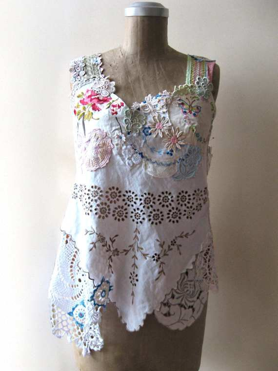 Reserved for Dora Linen and Lace Top Vintage by AllThingsPretty