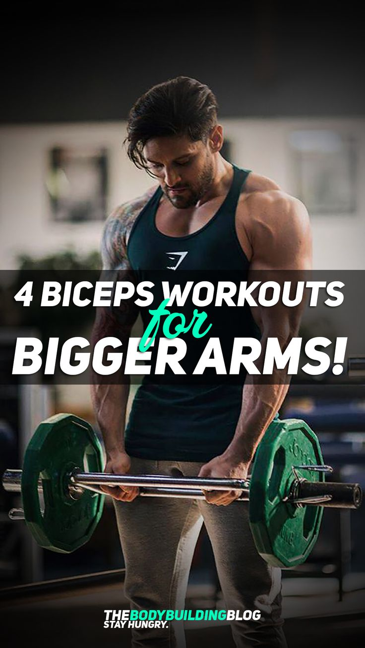 Check these 4 biceps workouts for bigger arms! The workouts are designed in four different ways: 1) to build mass; 2) to work on your biceps peak; 3) workout n the short head (for those impressive flexes at the gym; and 4) to add definition to your biceps. The article also comes with easy-to-download workout sheets so that you can just save them to your mobile phone and use then when at the gym or you can even print them out if you're more of a fan of printouts.