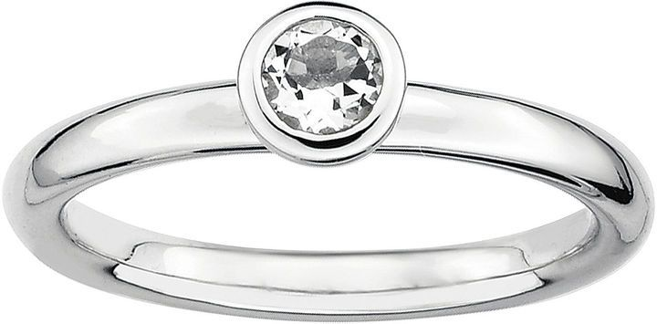 JCPenney FINE JEWELRY Personally Stackable 4mm Round Genuine White Topaz Ring