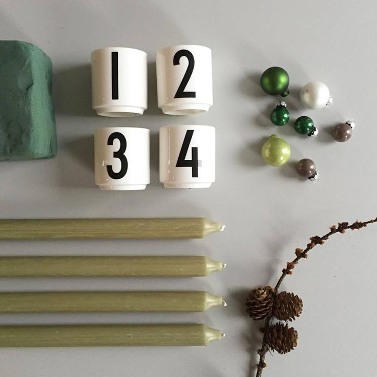 Ingredients for an easy Christmas decoration for advent. Candles in our AJ Vintage ABC mini porcelain cups.