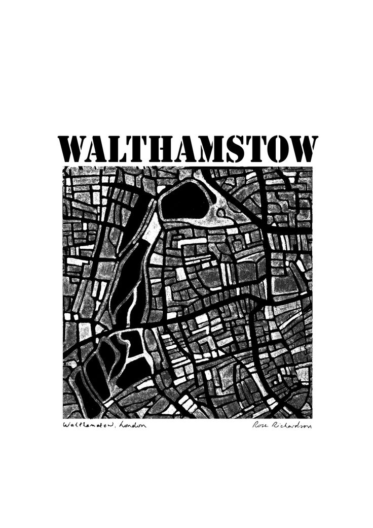 Map of Walthamstow, by Rose Richardson Map Artist