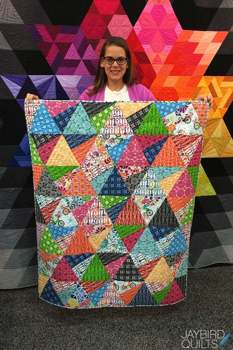 Jaybird Quilts Stereo Quilt, made with the Super Sidekick ruler. Available in local & online quilt shops. #JaybirdQuilts #SuperSidekickRuler #StereoQuilt