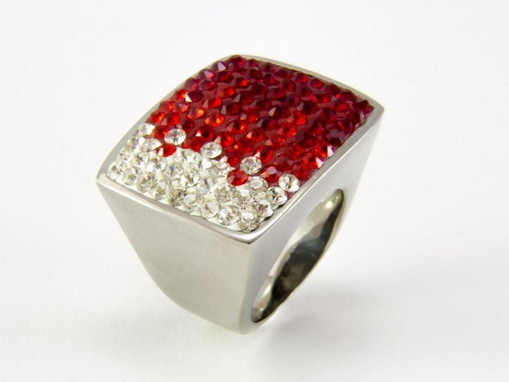 Piros színátmenetes Swarovski kristályos nemesacél gyűrű