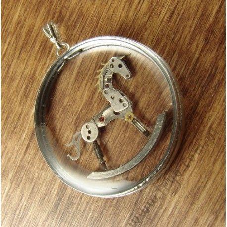 The transparent rocking horse - handmade clockwork pendant - a customer order. #transparent #rocking #horse #handmade #clockwork #pendant #tryb #jewelry
