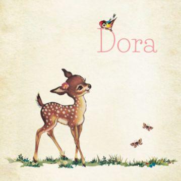 Maak online geboortekaartje Dora met een lief retro hertje en bestel daarna een gratis proefdruk van je ontwerp. #geboortekaartjes #retro #hertje #vogel #geboortekarten #meisje