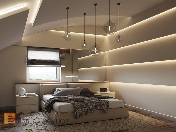 Дизайн интерьера спальни на мансарде в современном стиле, дом в Сестрорецке
