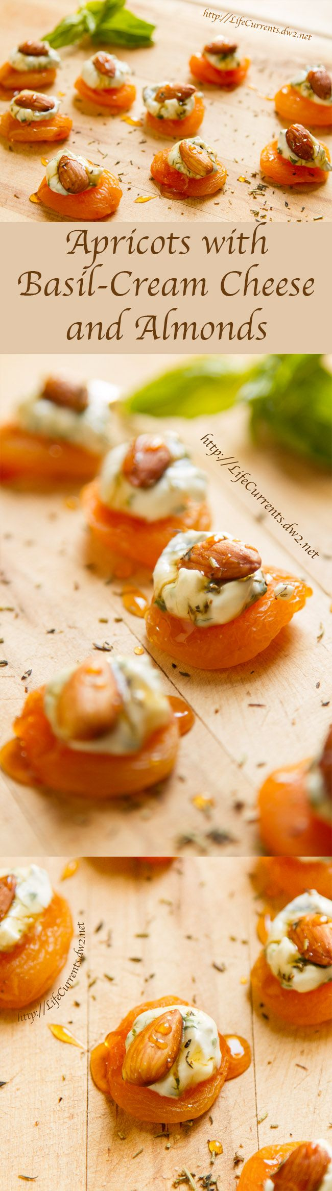 Apricots with Basil-Cream Cheese and Almonds: an awesome appetizer with a little sweetness that's welcome at any Valentine's Day celebration, date night, or romantic dinner