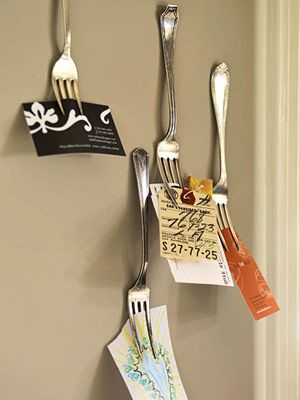 in the kitchenBusiness Cards Holders, Storage Solutions, Forks, Old Silverware, Kitchens Wall, Cute Ideas, Recipe Cards, Bulletin Boards, Storage Ideas