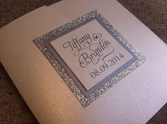 Glitter Wedding Invitation / Stunning And Elegant Glitter Pocketfold  Wedding Invitation With No Transfer Glitter