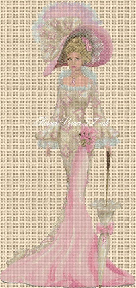 Cross stitch chart Elegant Lady 156S full length Flowerpower37-uk | eBay