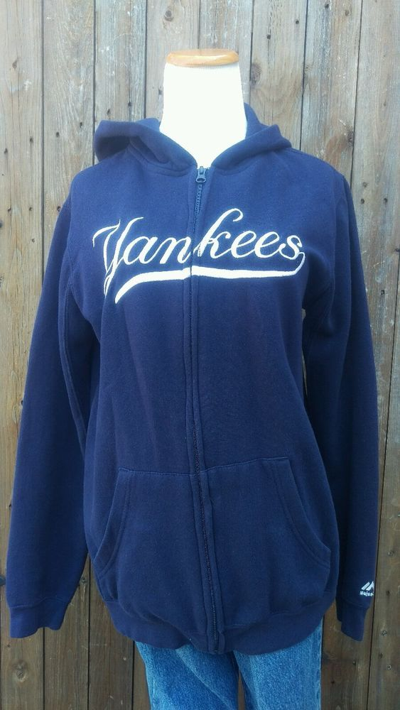 New York Yankees Women's Size XL Embroidered Navy Blue Zip Up Hoodie Jacket #Majestic #NewYorkYankees