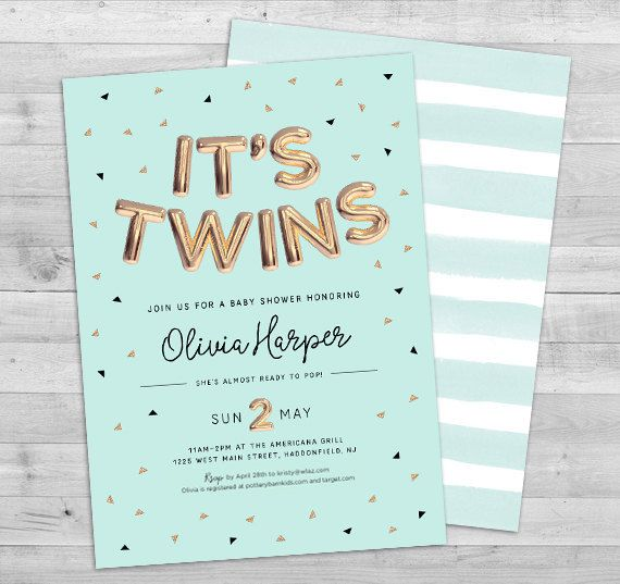 Twins Baby Shower Invites Invitation Gender Neutral Invitations Coed In 2018