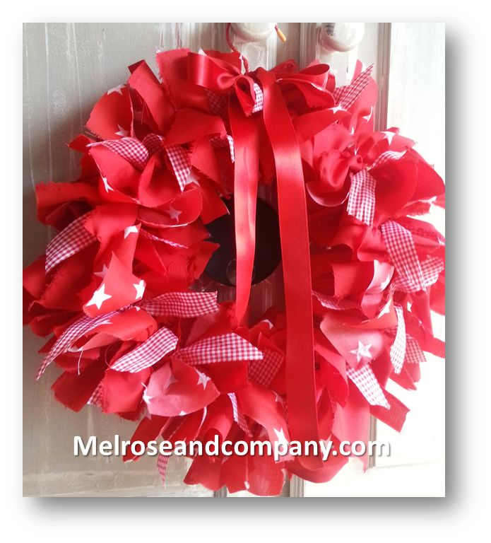 Red with Stars! Rag-wreath by Melrose & Co