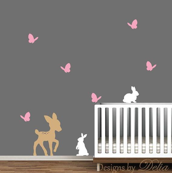 Forest Animals Wall Decal Deer Butterflies and by DesignsByDelia09, $34.00