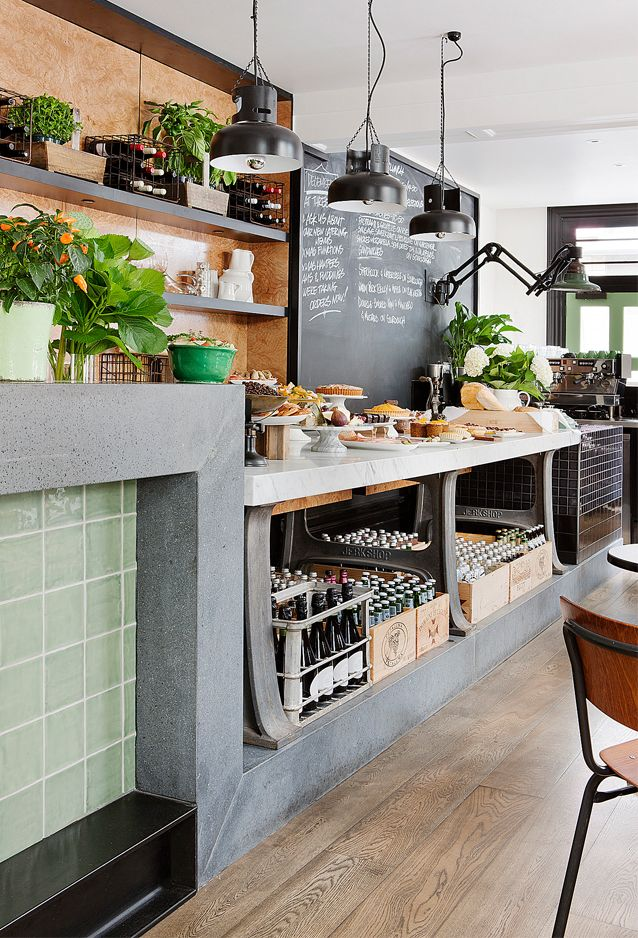 Three-Fold Food Store & Eatery in Melbourne. I like the mix of tile, wood, concrete.