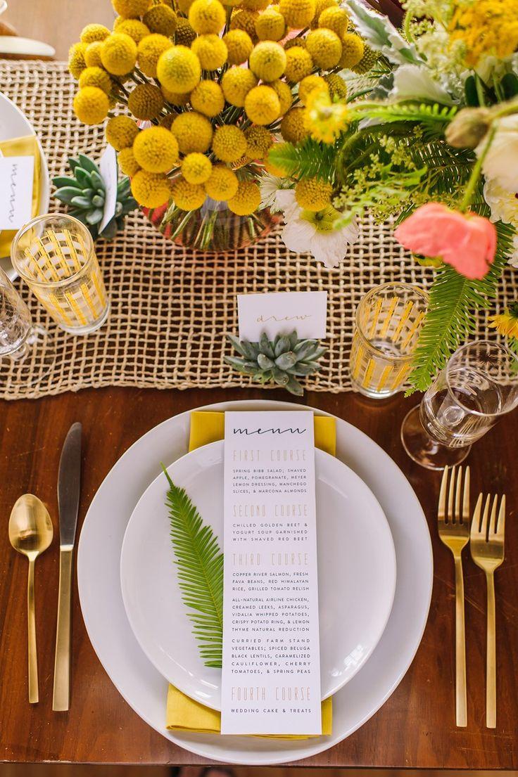 Yellow Wedding Place Setting // Photography ~ Amanda Dumouchelle Photography