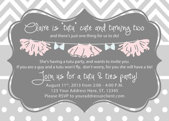 Girl Birthday Invitation - Tutus and Ties Party - Gray