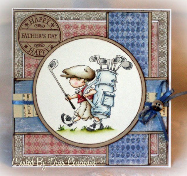handmade Father's Day card ... Vintage Boy headed to the golf course ... lots of layers (possibly a digi background) ... great card!! Lily of the Valley stamps