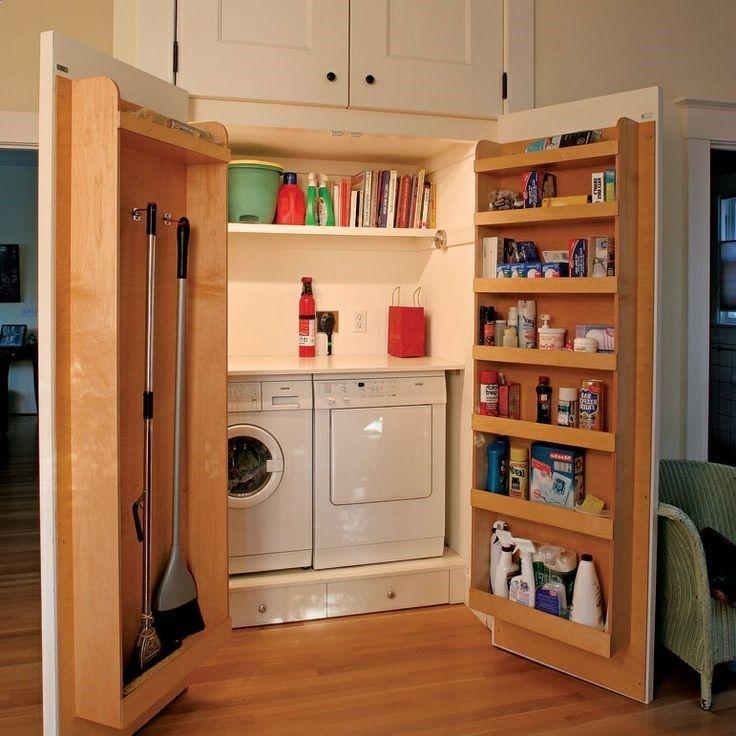 One idea: close area off with shelved doors. Unique Small Laundry Room Ideas  Dmada