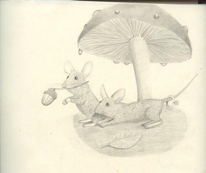 Mouse and the mushroom, illustration charcoal black and white, childrensillustration childrensbook forestanimals http://kramstedt.blogg.se