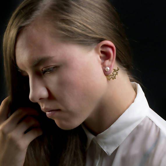 Πεταλούδες Ear JacketsPearl Σκουλαρίκια Μπουφάν Περλ Stud