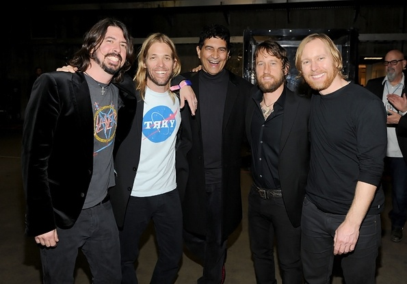 Back stage at the Grammys the amazing Foo Fighters