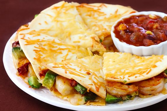 Parmesan-Crusted Shrimp Quesadillas. Made for dinner tonight. Shaun says it's a hit.