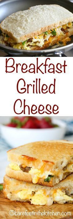 Cheesy eggs and sausage are tucked between slices of sourdough bread to create this irresistible Breakfast Grilled Cheese! Get the recipe now at http://barefeetinthekitchen.com