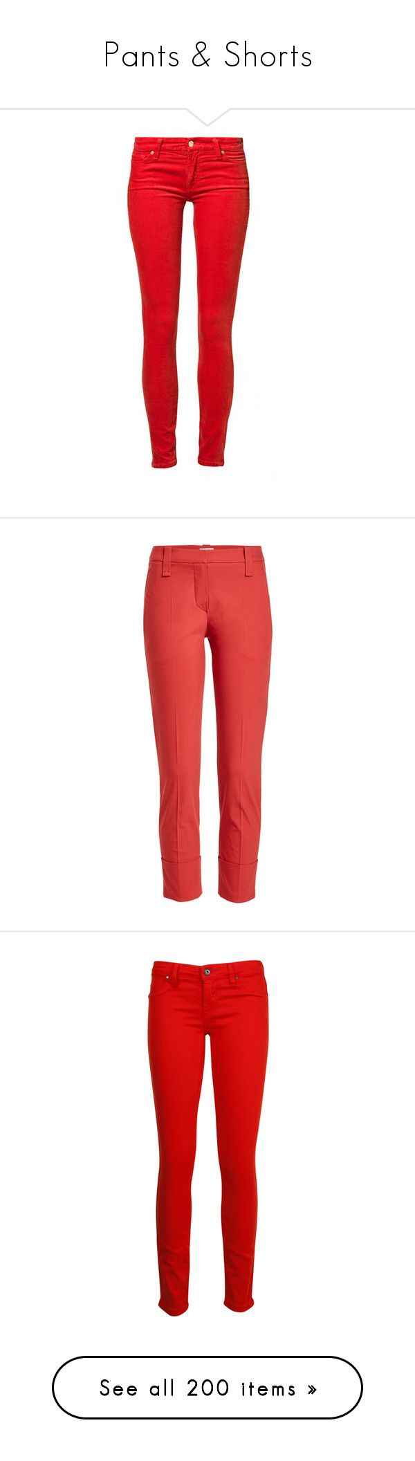 """Pants & Shorts"" by canadian-necromancer ❤ liked on Polyvore featuring pants, jeans, bottoms, calças, pantalones, red, women's trousers, 7 for all mankind, brunello cucinelli and tapered trousers"