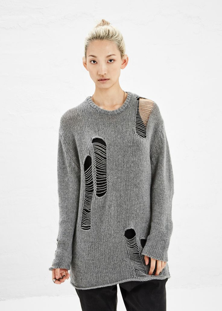 R13 Shredded Crew Cashmere Sweater (Grey)