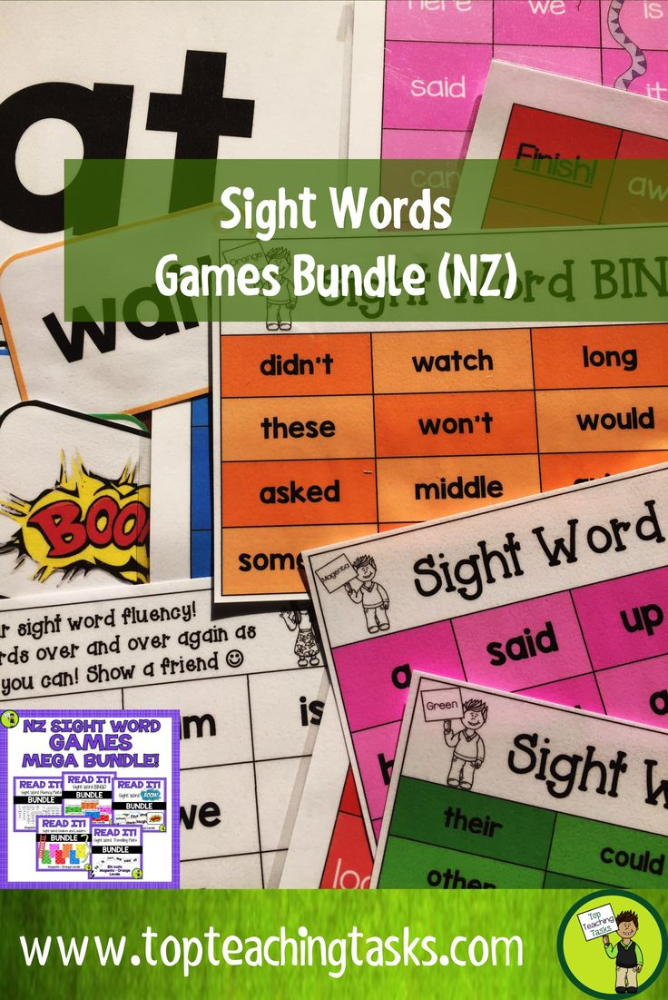 This GAMES BUNDLE includes FIVE Sight Word GAMES Bundles! Each pack includes all Magenta, Red, Yellow, Blue, Green and Orange words based on the New Zealand Curriculum High-Frequency Sight Word lists. Use these sight word games and activities as part of your Word Work Daily 5 activities, as a homework activity or as an addition to your literacy program. Games are: Snakes and ladders, bingo, BOOM!, Travelling Mats and Fluency Cards.