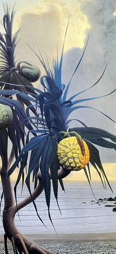The picture of Adan's beach.  by Tanaka Isson (1969)  アダンの海辺の図 - 田中一村